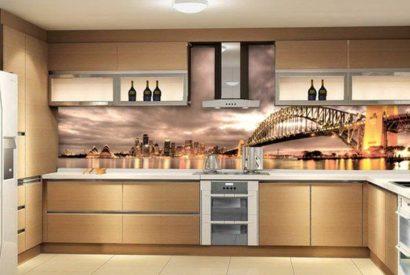 Mẫu kính ốp bếp in cầu cảng Sydney TOP-152 lung linh ánh đèn về đêm