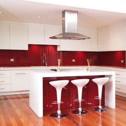 Kính ốp bếp sơn màu đỏ Bordeaux TOP-117