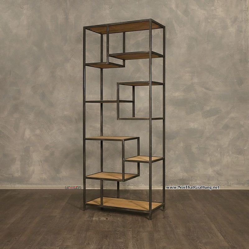 Kệ trang trí khung sắt mặt gỗ GHK-242 10 tầng đẹp tuyệt vời