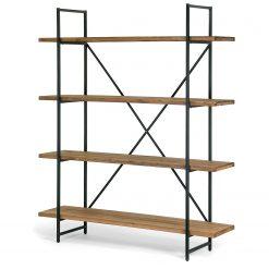 Kệ trang trí / kệ sách khung sắt mặt gỗ thông 4 tầng GHZ-323