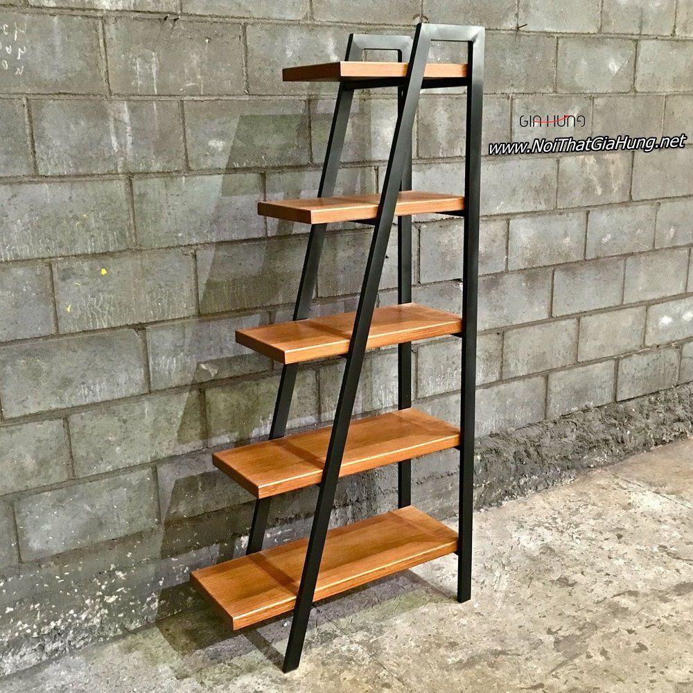 Kệ trang trí khung sắt - mặt gỗ hình thang vuông GHZ-441