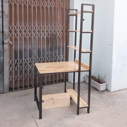 Kệ trang trí liền bàn khung chân sắt mặt gỗ GHZ-359