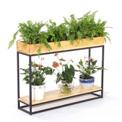 Kệ trồng cây khung chân sắt mặt gỗ GHZ-519
