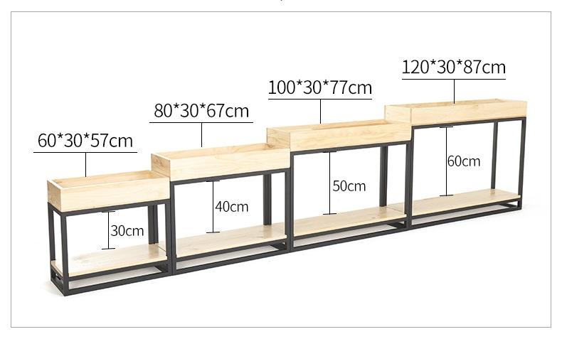 Thông số kích thước 4 loại kệ Kệ khung sắt hộc gỗ trồng cây GHZ-519