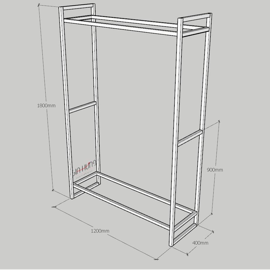Thông số kích thước: Kệ treo quần áo khung sắt mặt gỗ GHZ-497