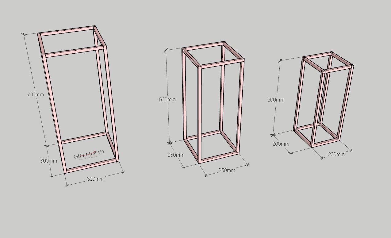 Bộ 3 kệ để chậu hoa GHZ-697 khung chân sắt mặt gỗ