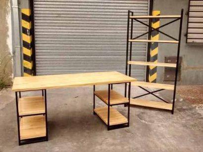 Bàn làm việc + kệ hồ sơ khung chân sắt mặt gỗ GHZ-736 giá Tốt khi Hốt trọn bộ