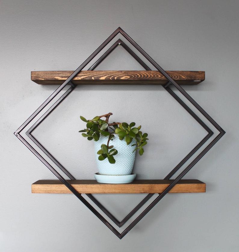 Kệ trang trí treo tường khung chân sắt mặt gỗ thông Mỹ GHZ-819 ai nhìn cũng muốn mua