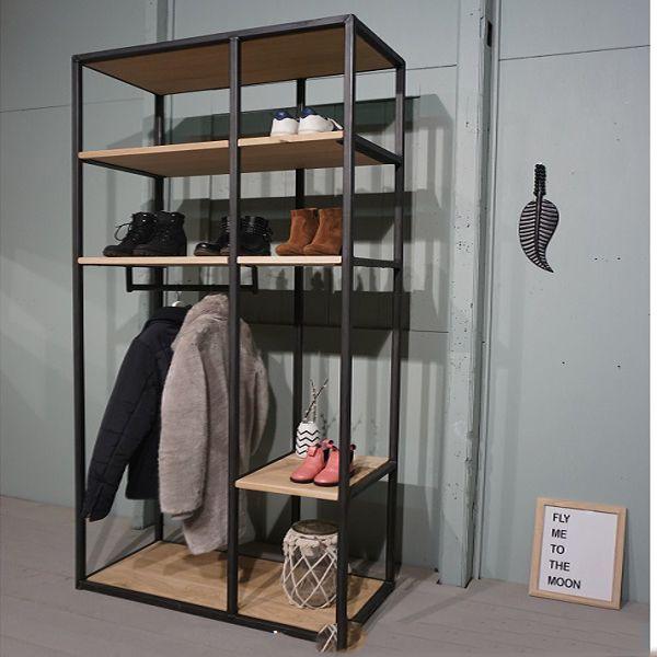 Kệ treo quần áo khung sắt mặt gỗ GHZ-914 phong cách giả cổ cực đẹp