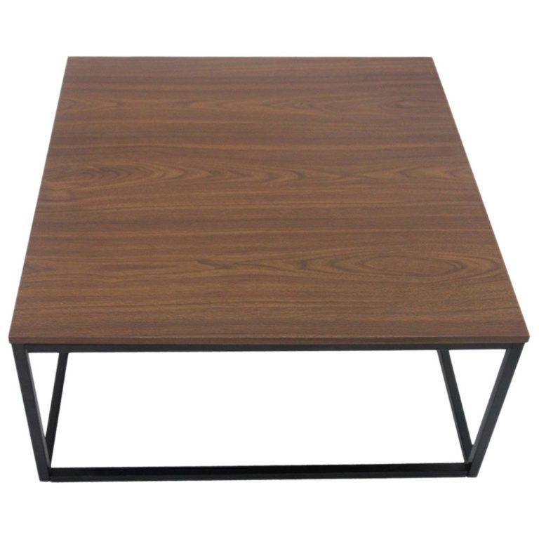 Bàn cafe chân sắt mặt gỗ MDF màu Nâu Óc Chó (Walnut Brown) GHZ-3162