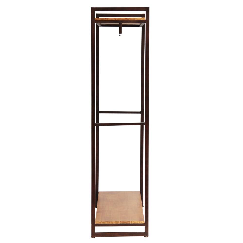 Kệ treo quần áo khung chân sắt mặt gỗ GHZ-497