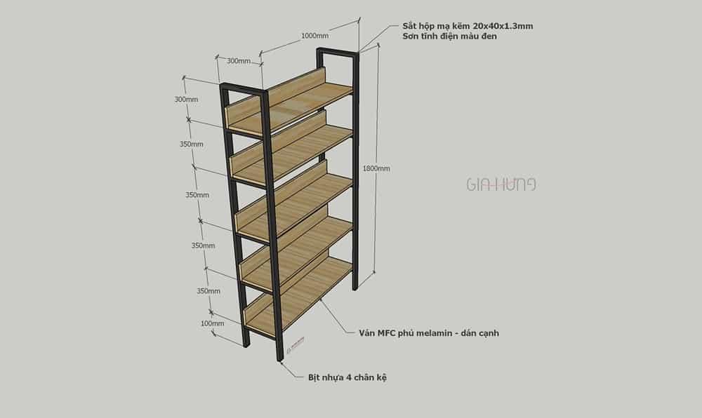 Thông số kích thước kệ trang trí khung chân sắt mặt gỗ GHZ-31