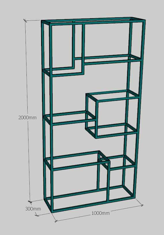 Kích thước Kệ trưng bày | kệ trang trí khung sắt mặt gỗ GHZ-2924
