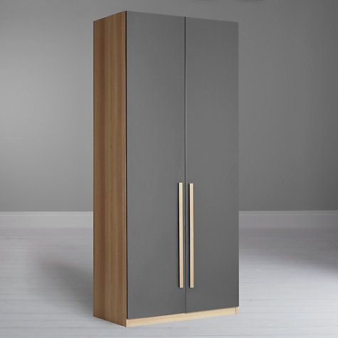 Buy House by John Lewis Mix it Tall Block Handle Double Wardrobe Gloss Steel Natural Oak Online at johnlewis com
