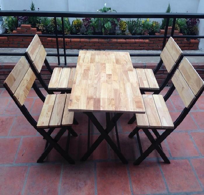 Bàn ghế xếp chân sắt mặt gỗ cao su GHZ-3231