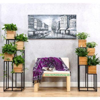 Kệ để chậu hoa khung chân sắt có hộp gỗ GHZ-3484