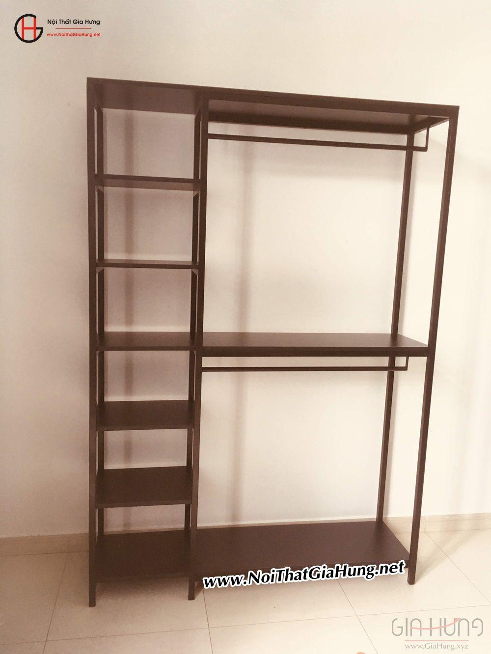 Kệ treo quần áo khung chân sắt mặt gỗ màu đen GHZ-834 giao tại Thanh Đa, Bình Thạnh