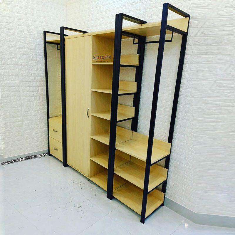 Kệ tủ treo quần áo khung chân sắt mặt gỗ GHZ-3759
