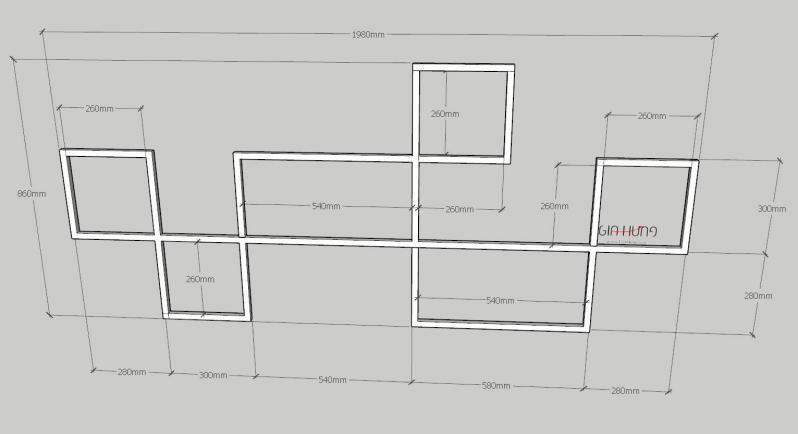 Kệ trang trí khung sắt mặt gỗ treo tường GHZ-3763